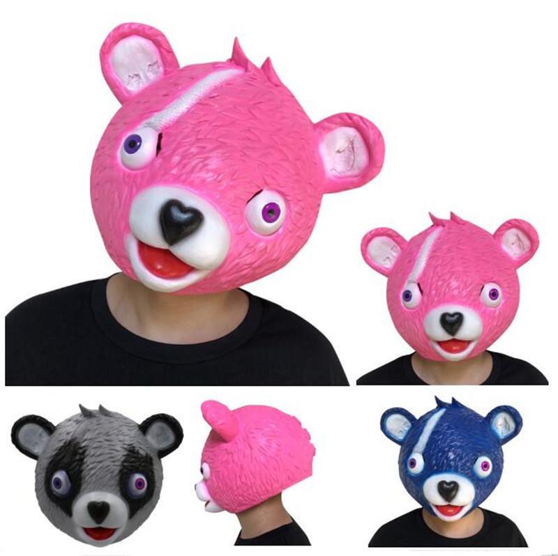 game fortnite pink blue bear mask halloween party cosplay props funny animal latex headgear masks full head headgears hallowmas toys fortnite mask fortnite - fortnite pink bear head