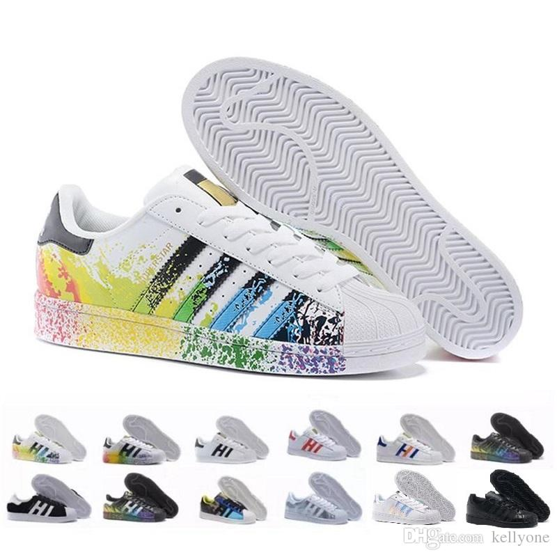 2018 Hot Cheap Superstar 80S Men Women Casual Basketball Shoes Skate Shoes  Rainbow Splash Ink Fashion Sports Shoes Size 36 44 Best Womens Running Shoes  ... c5b06bc7e5