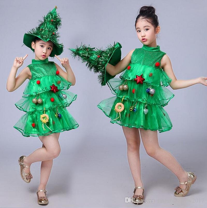 Großhandel Baby Sleeveless Kleider Kinder Grün Kleidung Weihnachten ...