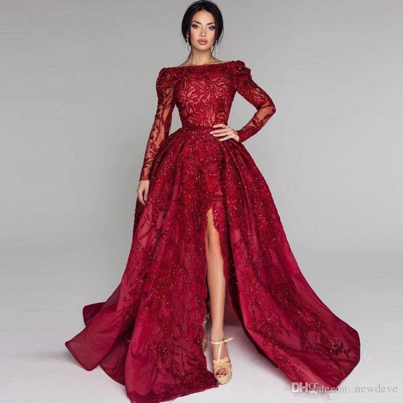Dark Red Illusion Long Sleeves Prom Dresses Beads Sequins Shinning Front Split Evening Gowns Lace Appliques Sexy Customized Party Dress