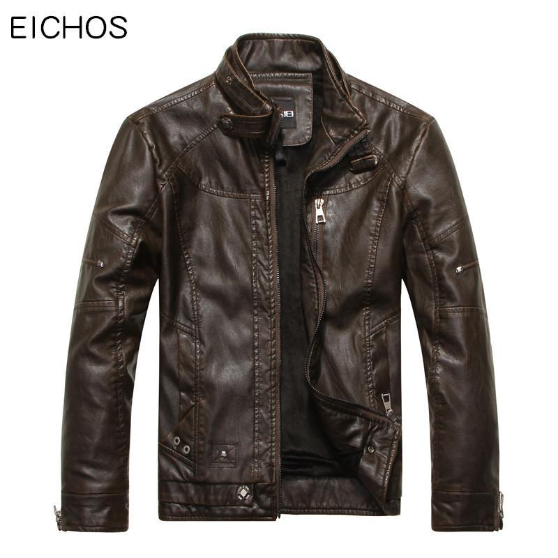 728432e3e63b Wholesale- EICHOS Mens Leather Jacket Autumn Winter Faux Leather Jackets  Male Business Casual Solid Color Pilot Leather Jacket Coats PY0905