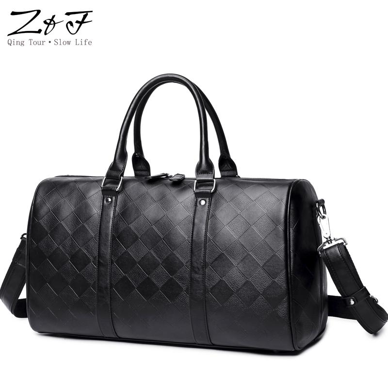 ZF Male s Travel Bags Large Capacity Black Luggage PU Leather Hand ... 8da6453d4332a