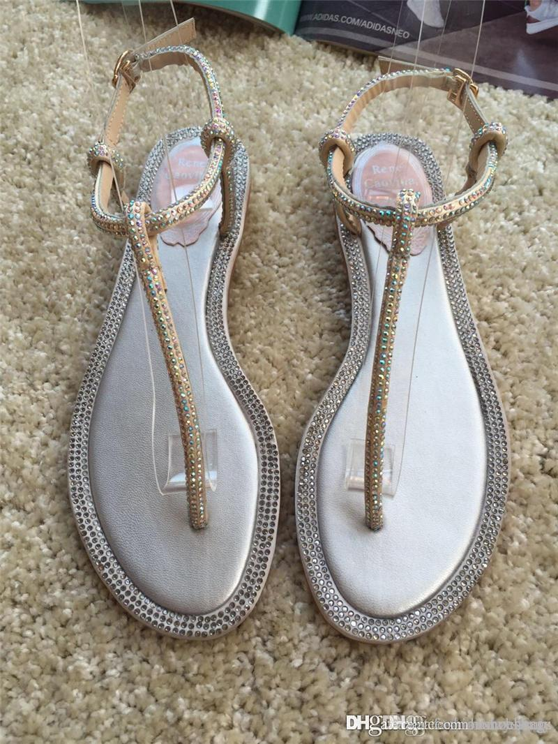 fa15220a50 2018 Newest High Quality RENE CAOVILLA CRYSTAL Karung Rose Gold Pearl  Crystal Flower Thong Sandals Nude Thong Sandals With Original Box Shoe Sale  Suede ...