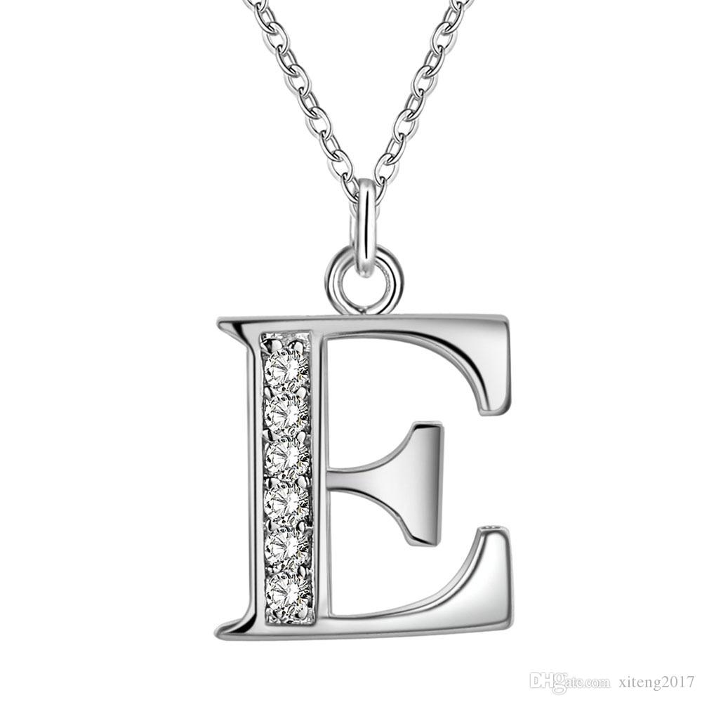 Personalized Initial Crystal A-Z Letter Pendant Charms Necklace 26 Alphabet Silver Color Chain Necklaces Women Fashion High Quality Jewelry