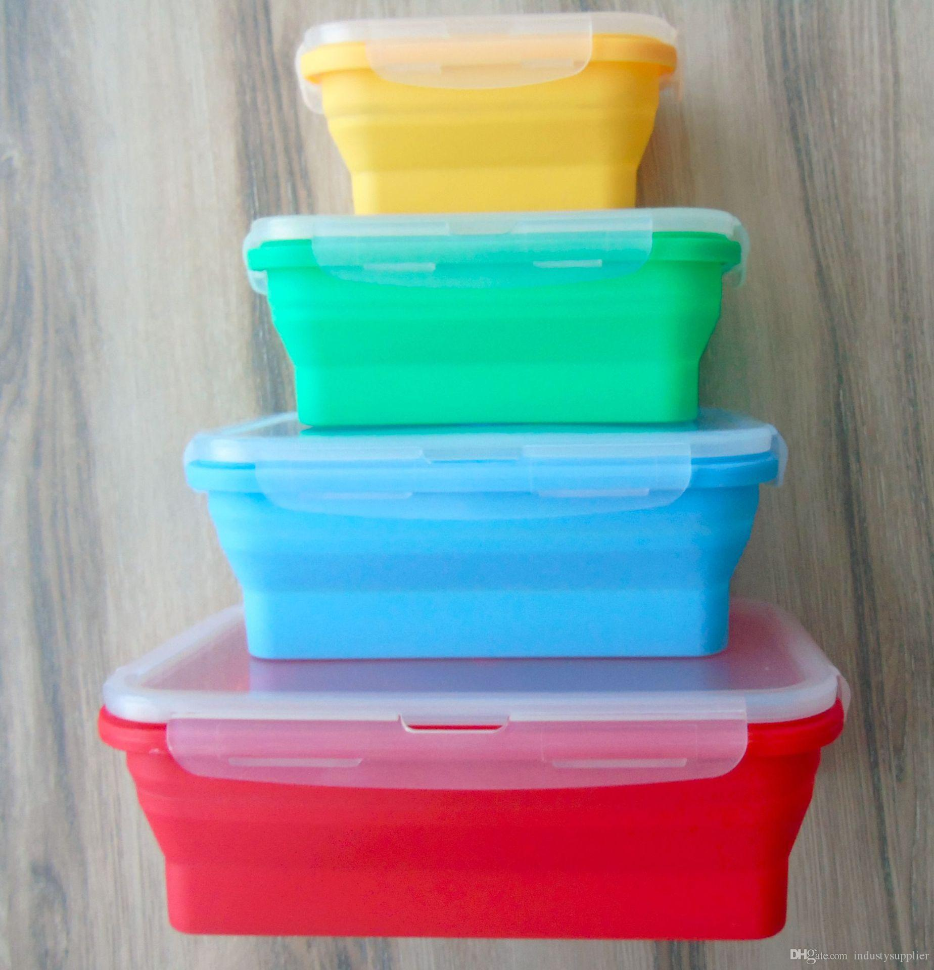 Silicone Lunch Box Portable Lunch Boxes Colorful Lunch Box Folding ...