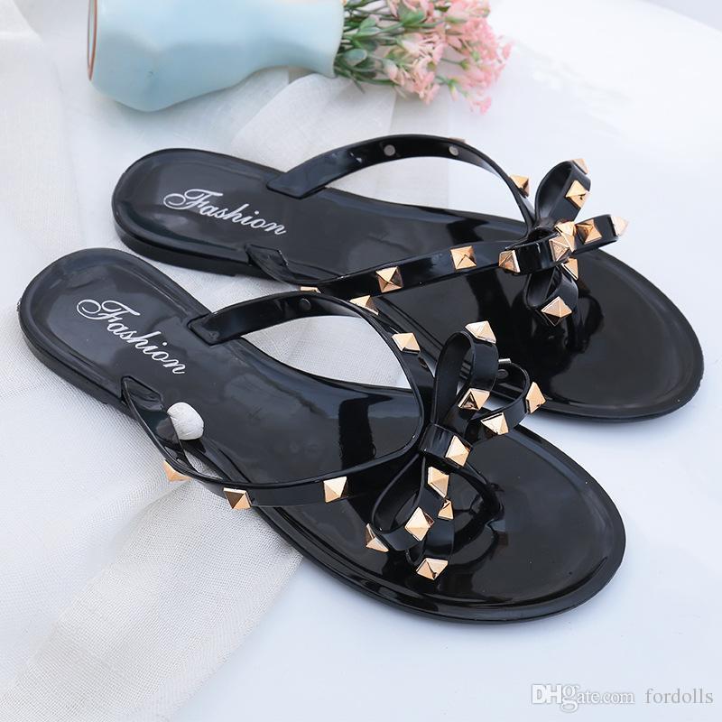 08520d6e8 Woman Summer Sandals Rivets Big Bow Knot Flip Flops Beach Sandals Women  Flat Jelly Designer Sandals Channel PVC Uppers Summer Shoes Purple Shoes  From ...
