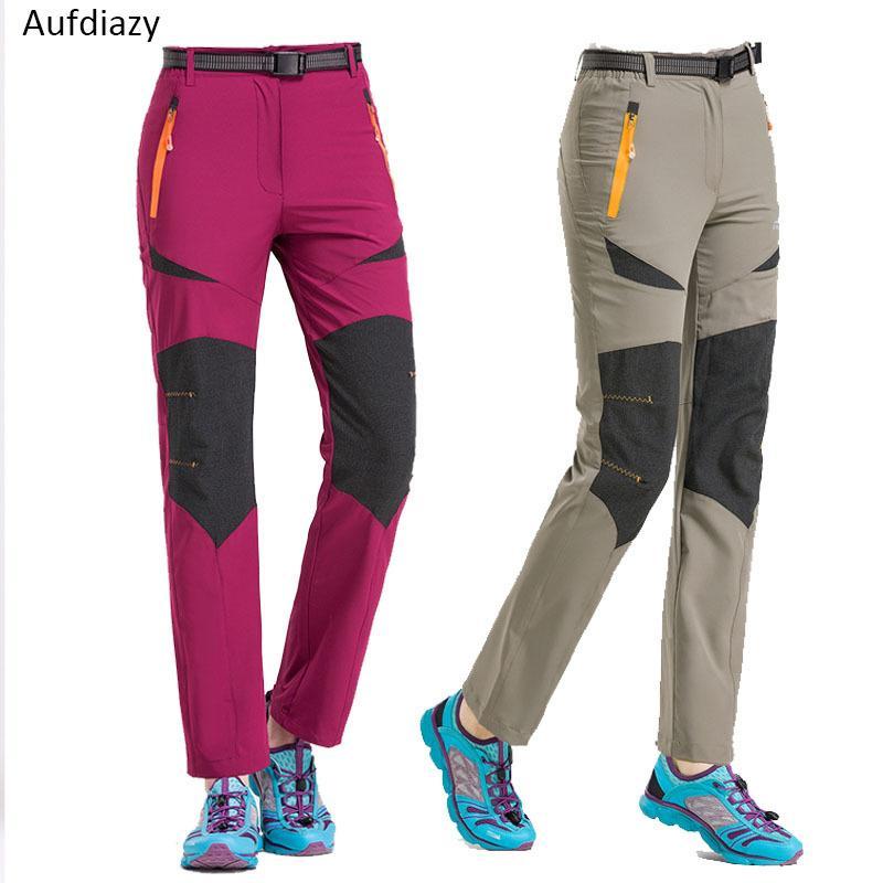 e03b14cdbb1f 2019 Aufdiazy Summer 4XL Women Quick Dry Hiking Pants Outdoor Waterproof  Female Thin Trekking Pants Climbing Camping Trousers JW009 C18111401 From  Shen8402
