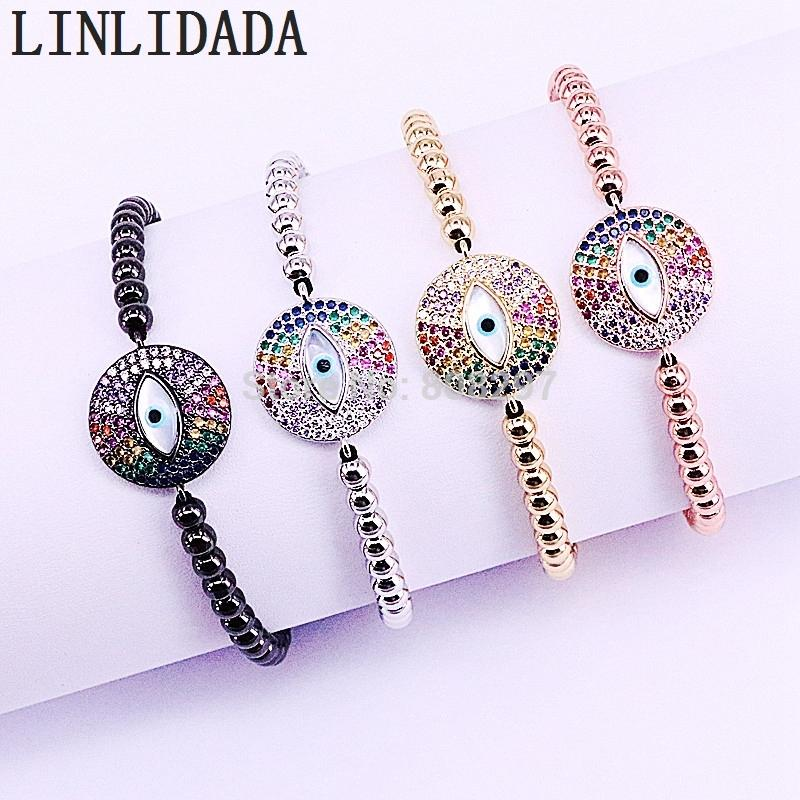New Arrival 8Pcs Handmade Micro Pave CZ Shell Eye Bead Charm & 4mm Round Beads Braided Macrame Bracelet Jewelry