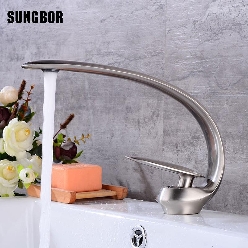 2018 Brushed Nickel Basin Vanity Sink Faucet Single Handle Waterfall ...