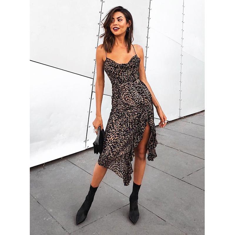 2019 Flocking Leopard Condole Belt Dress Spring Women S Sexy Irregular  Bohemian Party Woman Dress From Insightlook 6da81277a