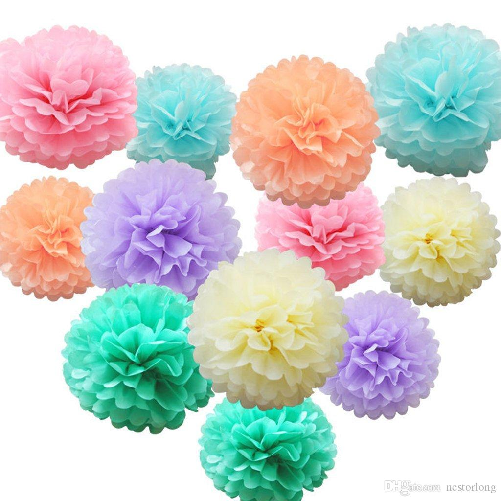2018 Tissue Paper Flower Pom Pom Rose Ball 10 35cm Hanging Paper