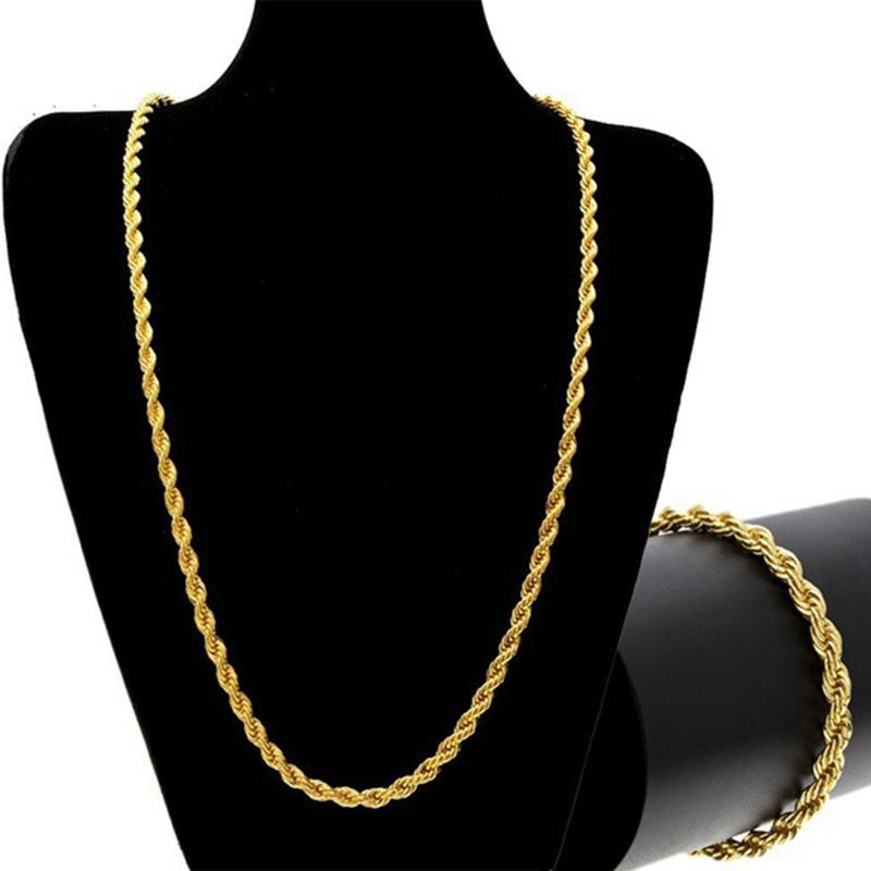 5e3d5f4e116 Uwin Classic Hot Style Wide Rope Chain Men's Hip-hop Gold&Silver Color  Twist Chain Men Bracelet Necklace Jewelry Set