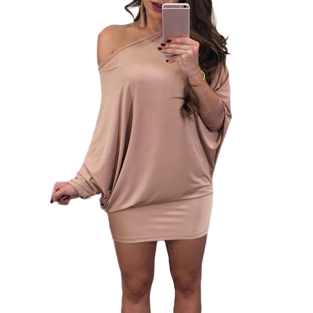 643f59833eca Women Sexy Off Shoulder Dress One Shoulder Batwing Sleeves T Shirt Dress  Slash Neck Mini Evening Party Dresses Vestidos De Festa Shop Womens Dresses  Black ...