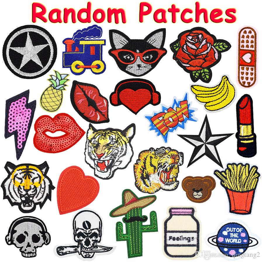 patchs aléatoires pour vêtements de fer sur transfert applique patch pour sacs jeans DIY coudre sur toutes sortes autocollants de broderie Livraison gratuite