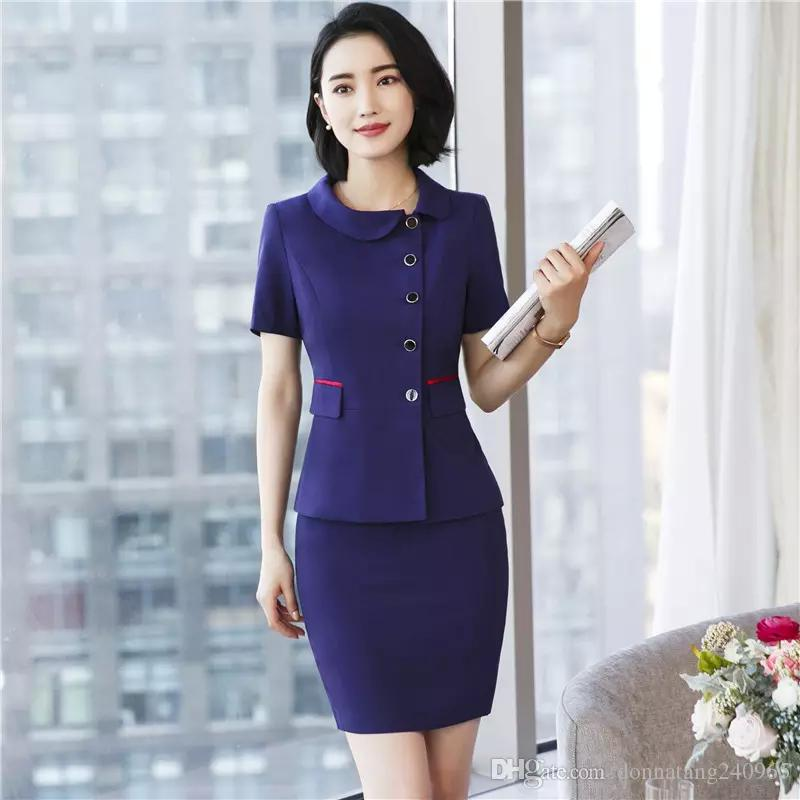d551ad7991e7 2019 New Spring Fashion Professional Women Skirt Suit Summer Elegant Formal  Blazer And Skirt Office Ladies Plus Size 3XL Uniforms From Dujotree