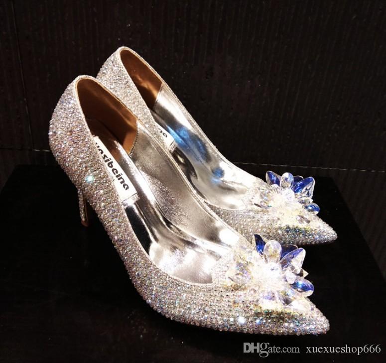 Luxury Diamond Women High Heels Crystal Wedding Shoes Women High ... 89fb8508e79f