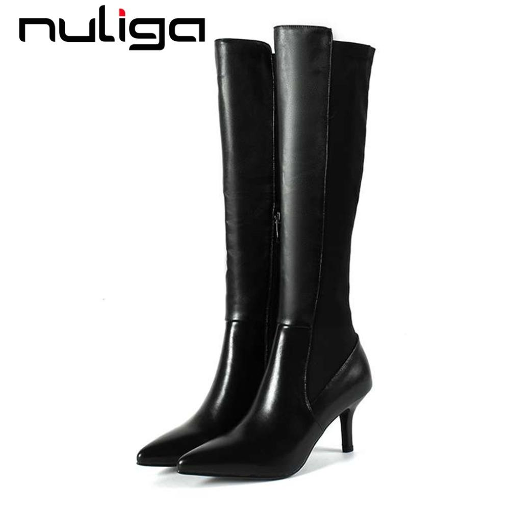 47779eef3a6 Nuliga Winter Slouch Boots Plus Size Black Color Cow Leather Pointed Toe  Stiletto High Heels Zipper Stretch Knee High Boots L15 Mens Leather Boots  Grey ...