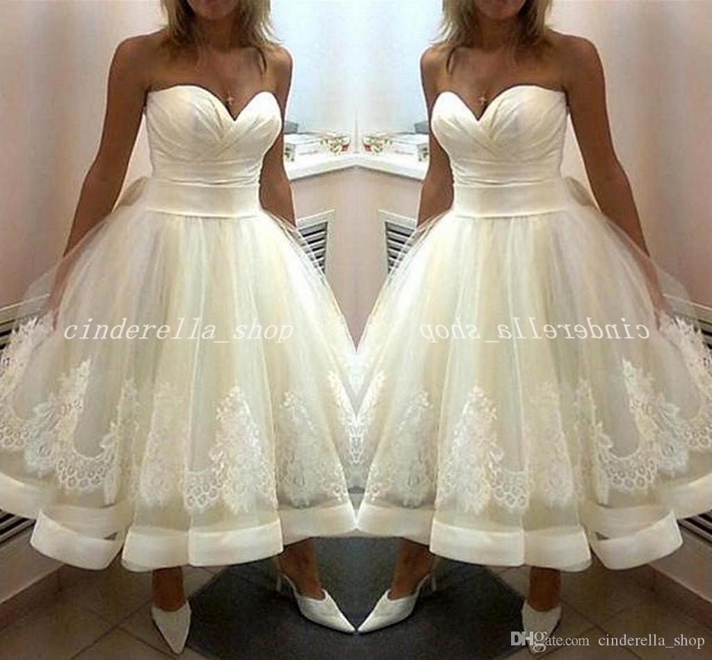 Discount 2018 Short Ivory Wedding Dresses Sweet Heart Backless Tea Length Appliques Draped Bridal Gowns Vestidos De Novia Plus Size Gold: Short Strapless Sweet Wedding Dresses At Websimilar.org