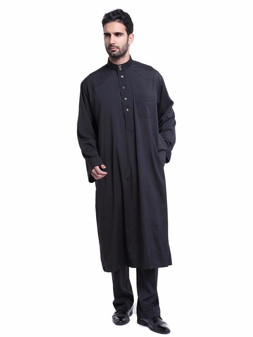 d9f587312082 Acquista Medio Oriente Tradizionale Uomini Musulmani Manica Lunga Thobe Islamico  Abito Saudita Abbigliamento Musulmano Mens Thawb Caftani Plus Size A  58.3  ...