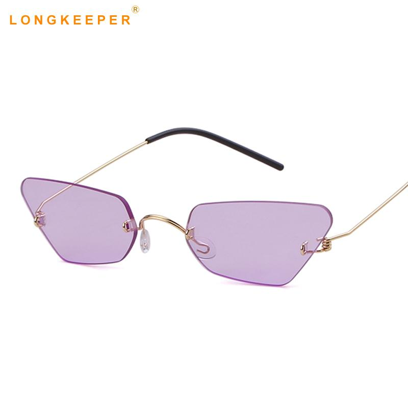 69809ec03f611 Vintage Cat Eye Sunglasses Women Cat Eye Designer Ladies Rimless ...