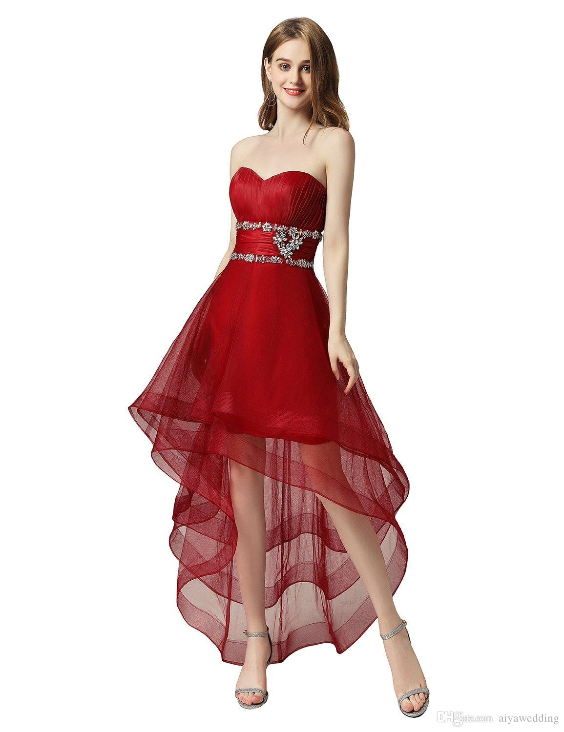 2019 Sweetheart High Low Homecoming Dresses Red Open Back Crystal Party Evening Gowns Vestido de fiesta