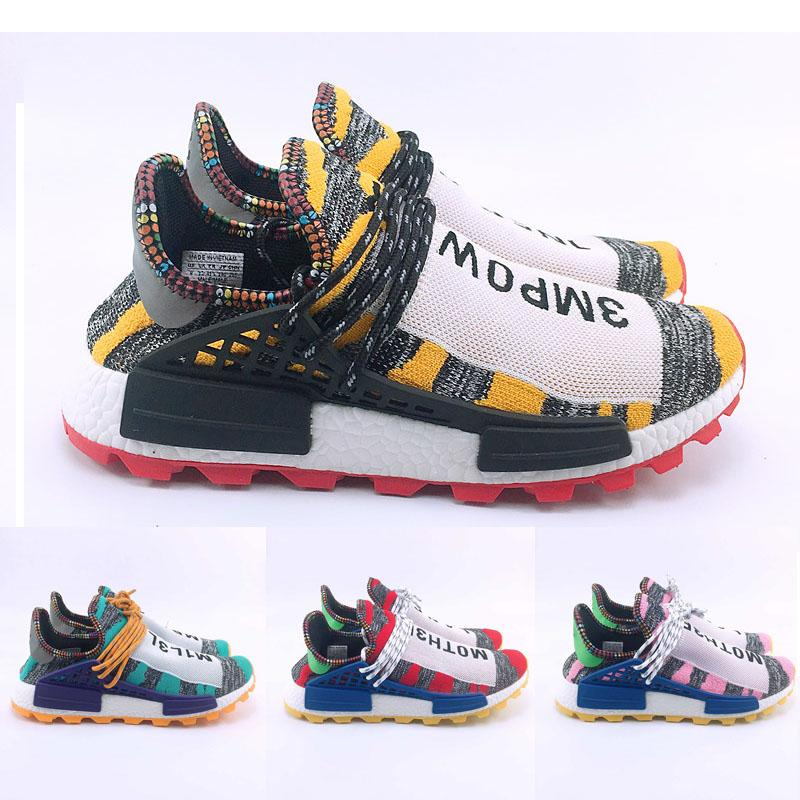 outlet store e4915 23385 2019 Pharrell x NMD Hu Trail Cream Women Men NERD Solar PacK Human Race  Holi MC Youth Kids Running Shoes Black Equality Trainers eur47 US13