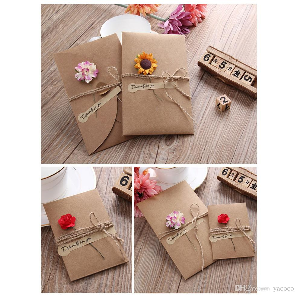 S L Size Hand Made Greeting Card Dried Flower Decoration Diy Vintage