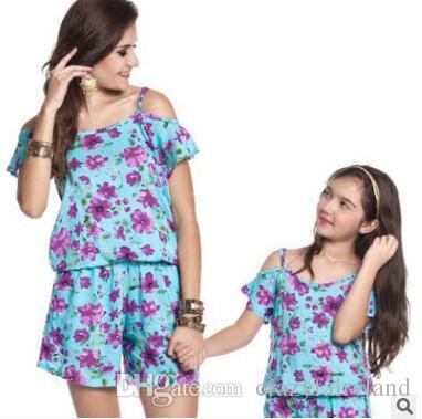bd0e283645f Plus Size Mother And Daughter Matching Clothing Jumpsuit Outfits 2018  Summer Off Shoulder Floral Mother And Daughter Clothes Family Clothing  Outfits For ...