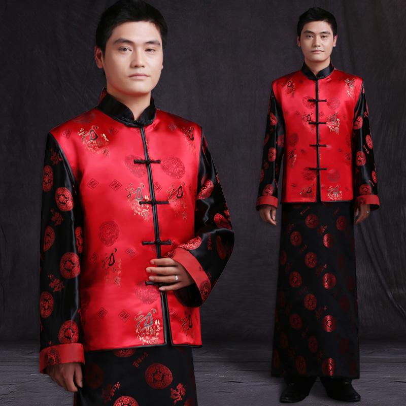 04af5270d598 Acquista Abito Da Uomo Vestito Da Cerimonia Tradizionale Cinese Vestito  Abito Da Sposa Tradizionale Abito Da Uomo Cinese Rosso Vestito Antico  Costume Sposo ...