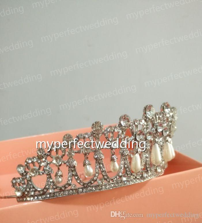 Royal Princess Diana Same ABS Pearl Crown Crystal Tiara Bridal Jewelry Wedding Accessories High Quality Real Photos Classic