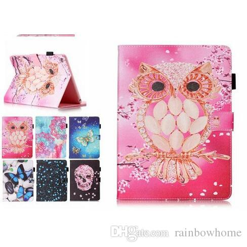 Color Mix Butterfly owl PU Leather Stand Wallet Flip Card Slots Covers Case for Samsung Galaxy Tab T280 T230 T550 T560 T580