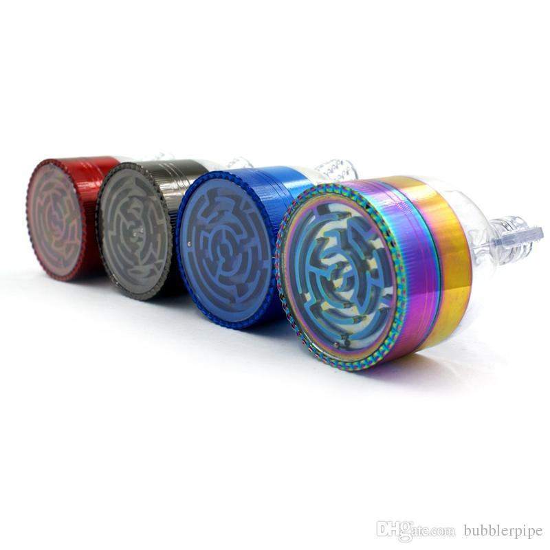 Alüminyum Metal Herb Değirmenleri 63mm büyük tütün kırıcı Renkli Huni şekli 3 Parçaları uzay değirmeni El Kraker Hornet Değirmenleri