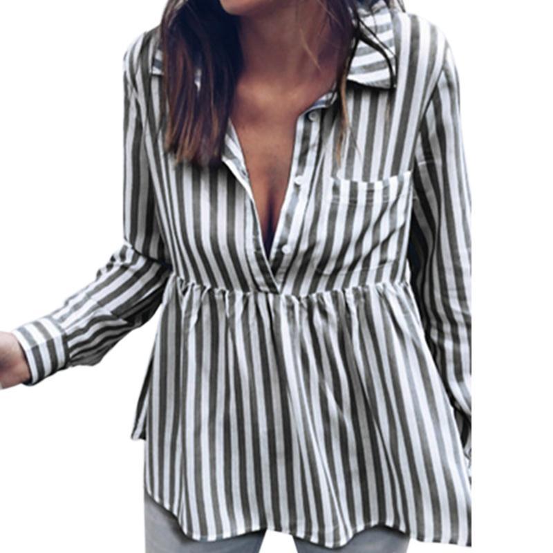 84162170aa6a Botones de manga larga para oficina Camisas de bolsillo Otoño Casual Rayas  Blusas para mujer Blemate cuello doblado Talla grande Blusa GV276