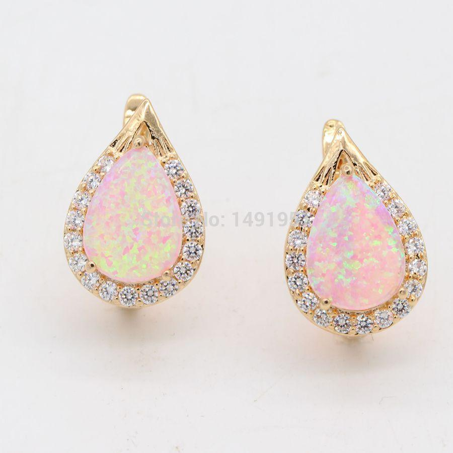 JINYAO Jewelry Fantastic Multicolor Fire Opal 925 Gold Stamped Earrings For Anniversary 5COLORS