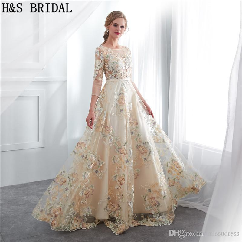 Lace Long Sleeves Prom Dresses Pattern Elegant Woman Formal Evening ...