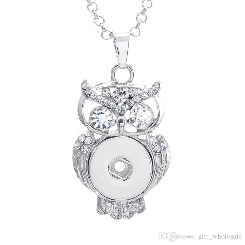 wholesale 2018 newest rhinestones noosa chunks necklace owl pendent buttons owl round necklaces pendant charms