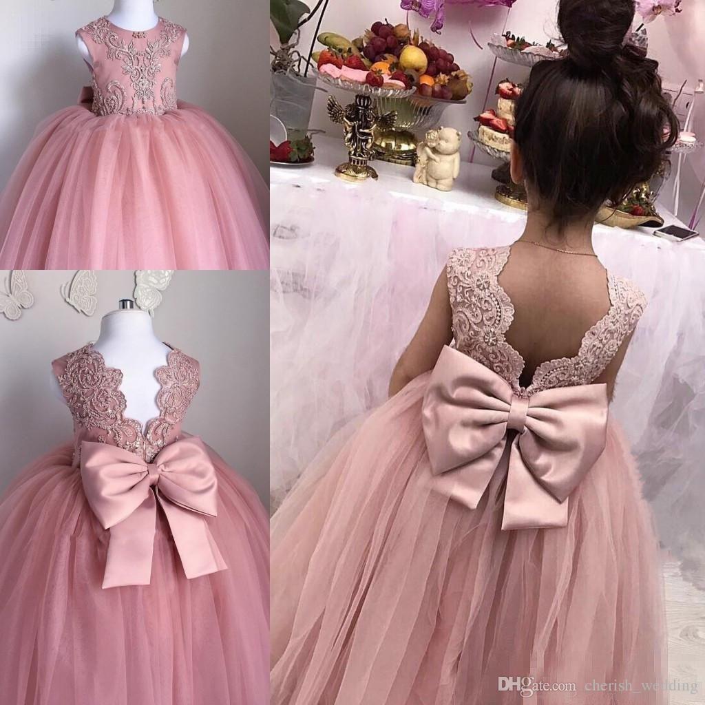 Compre 2017 Rosa Niña De Las Flores Se Viste Para Las Bodas Vestido ...