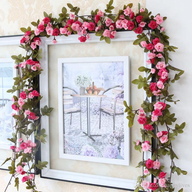 Artificial Flowers 2.45M Long Silk Rose Flower Ivy Vine Leaf Garland Wedding Party Home Decoration Wreath Wedding Favors