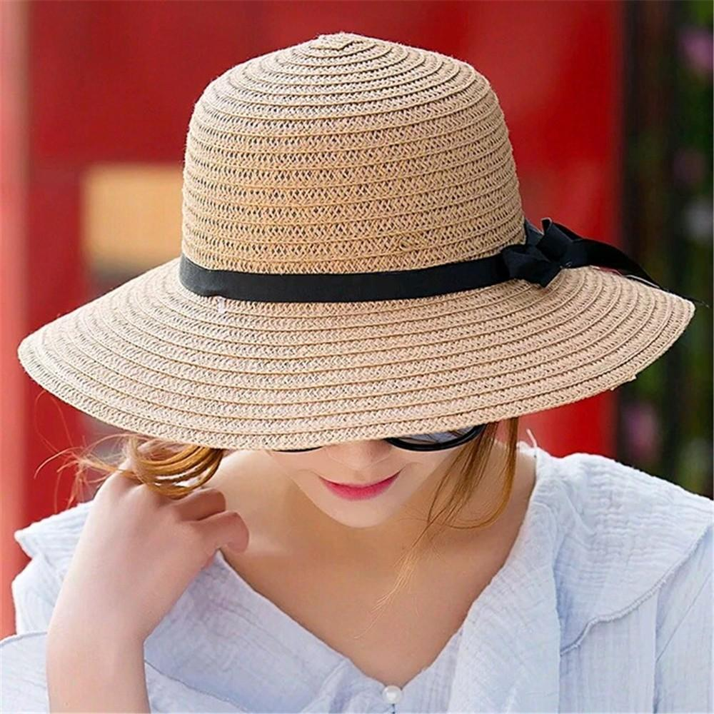 79163660f11 Fashion Floppy Foldable Ladies Women Straw Beach Sun Summer Hat Beige Wide  Brim Sun Hats For Women Sombrero Playa Mujer A60 Fishing Hats Funny Hats  From ...