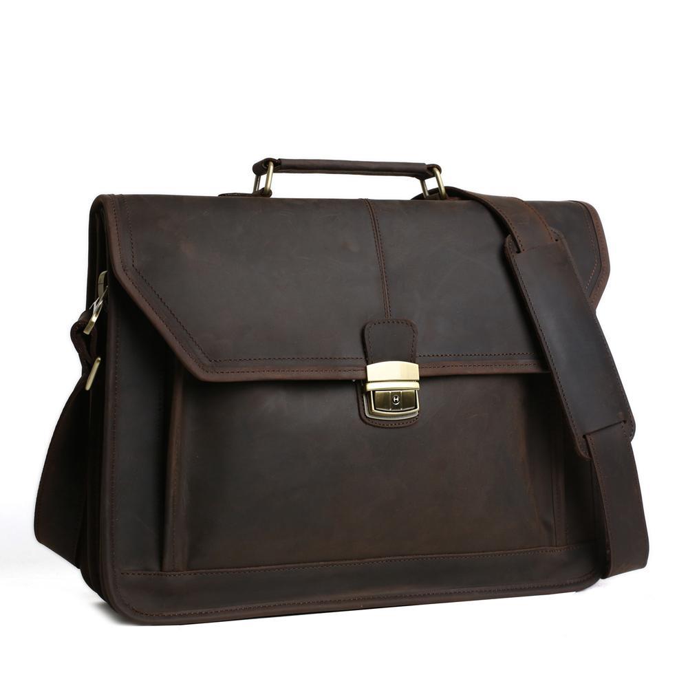 ROCKCOW Men's Genuine Leather Briefcases Men Vintage Crazy Handmade Men Messenger Bag Laptop Bag