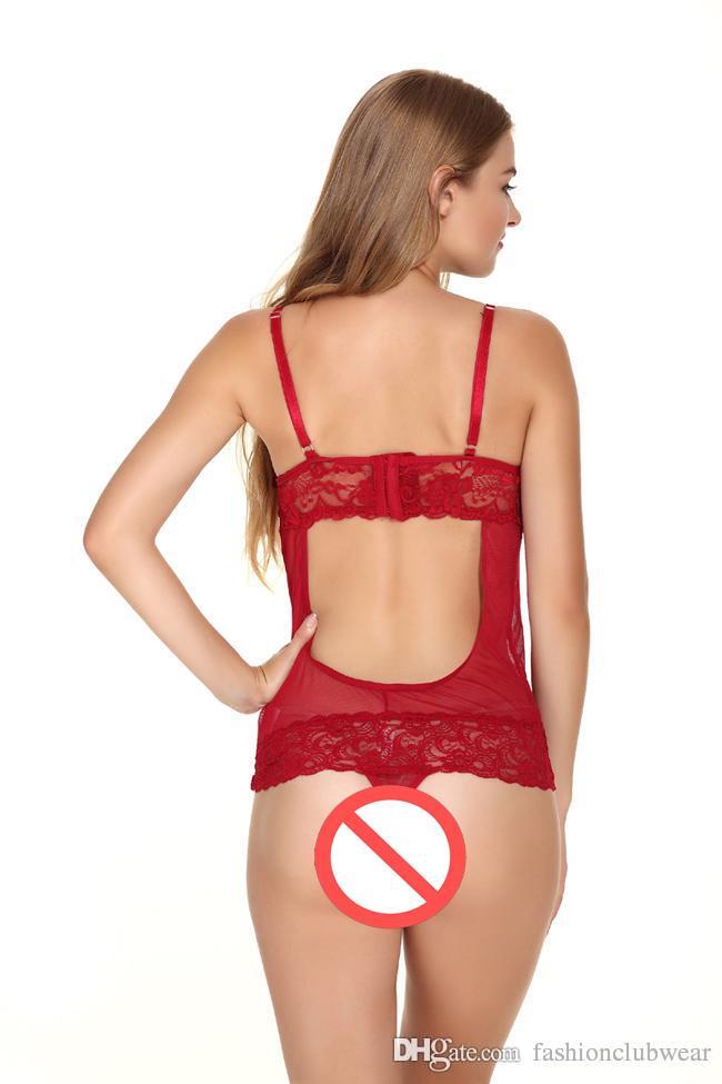 Le donne vedono attraverso gli indumenti da notte della maglia Sexy busto aperto orsacchiotti Lingerie Pizzo Patchwork Sleepshirts Intimates Onesies sexy femminile