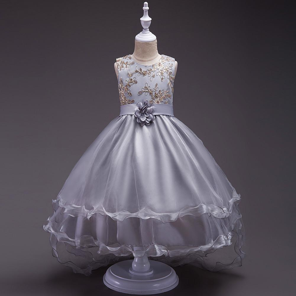3-13 Years Embroidery Flower Girl Princess Dress for Wedding Kids Trailing Lace Tulle Tutu Dress Floral Party Gown Toddler Children Costume