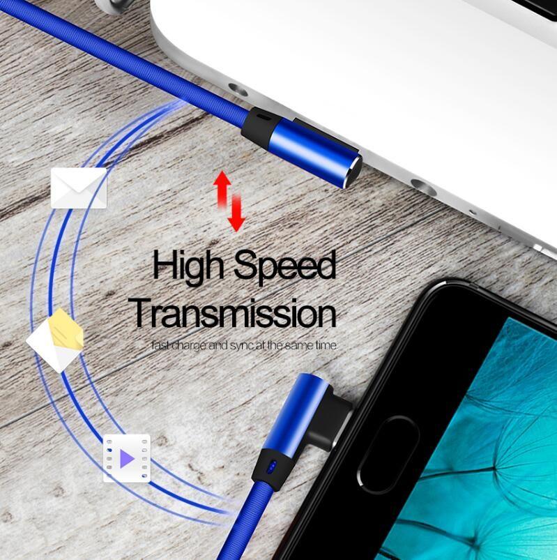 Doppeltes L flexibles Metall-USB-Typ-C-Kabel 2.0A Schnelles USB-Ladekabel für Typ C für Micro-USB-Ladegerät für Typ C