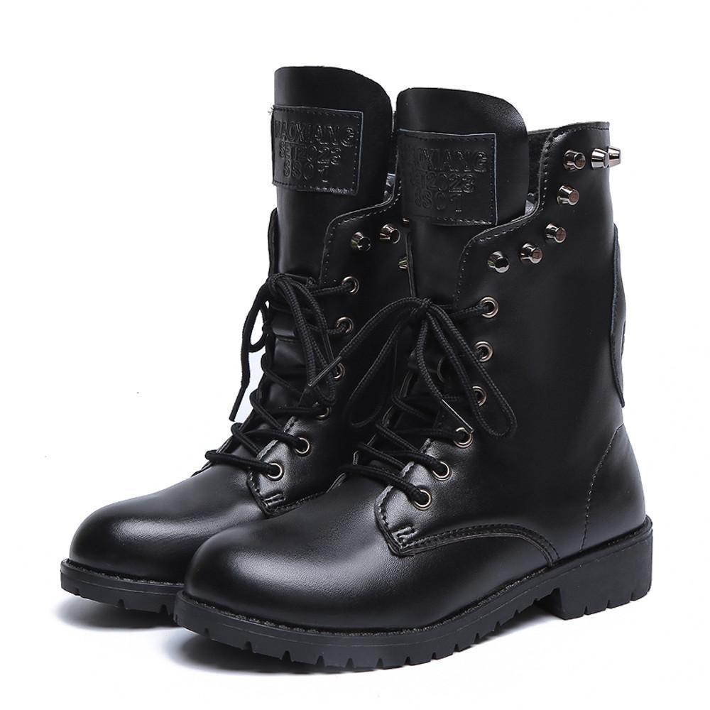 b2ce496fc3cdc Szyadeou Women S Rivets Shoe Round Toe Lace UP Strap Square Heel Single Shoe  Martin Boots Botas Femininas De Inverno Ayakkabi 25 Womens Ankle Boots  Leather ...