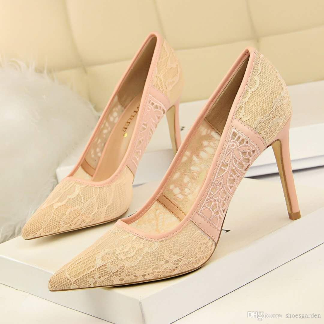 Black Lace Wedding Shoes High Heels Plus Size Bridal Shoes White Red Lace Fashion Evening Stiletto Heel Shoes Pointed Toe Pumps