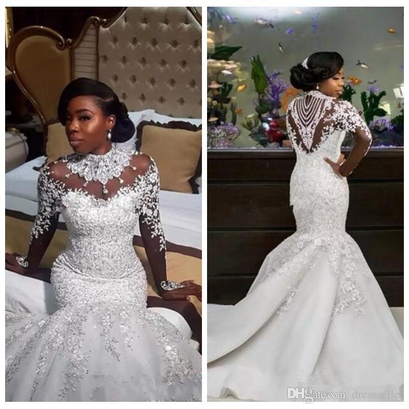2018 Bling Bling Slim Mermaid Wedding Dresses Crystals Beaded Sheer ...
