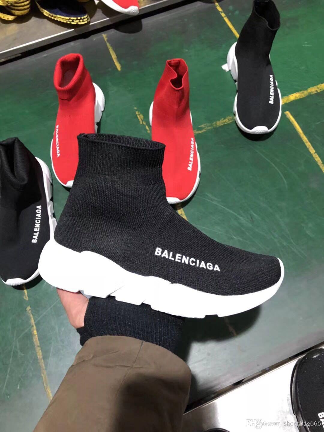 3aeb40b9a85a8 Good Quality Red Black Speed Trainer Casual Shoe Man Woman Sock Boots With  Box Stretch Knit Casual Boots Race Runner Cheap Sneaker High 44 Geox Shoes  Cheap ...