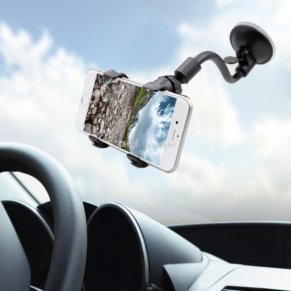 Suporte Universal Do Telefone Do Carro Braço Longo Braçadeira Windshield Dashboard Car Mount Titular de 360 Graus de Rotação Celular Montagem Com Pacote de Varejo