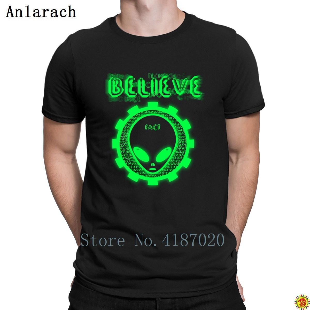 Believe Alien Fact T-Shirt Funny Pop Top Tee Slim Round Collar T Shirt For Men Stylish Summer Designing Top Quality
