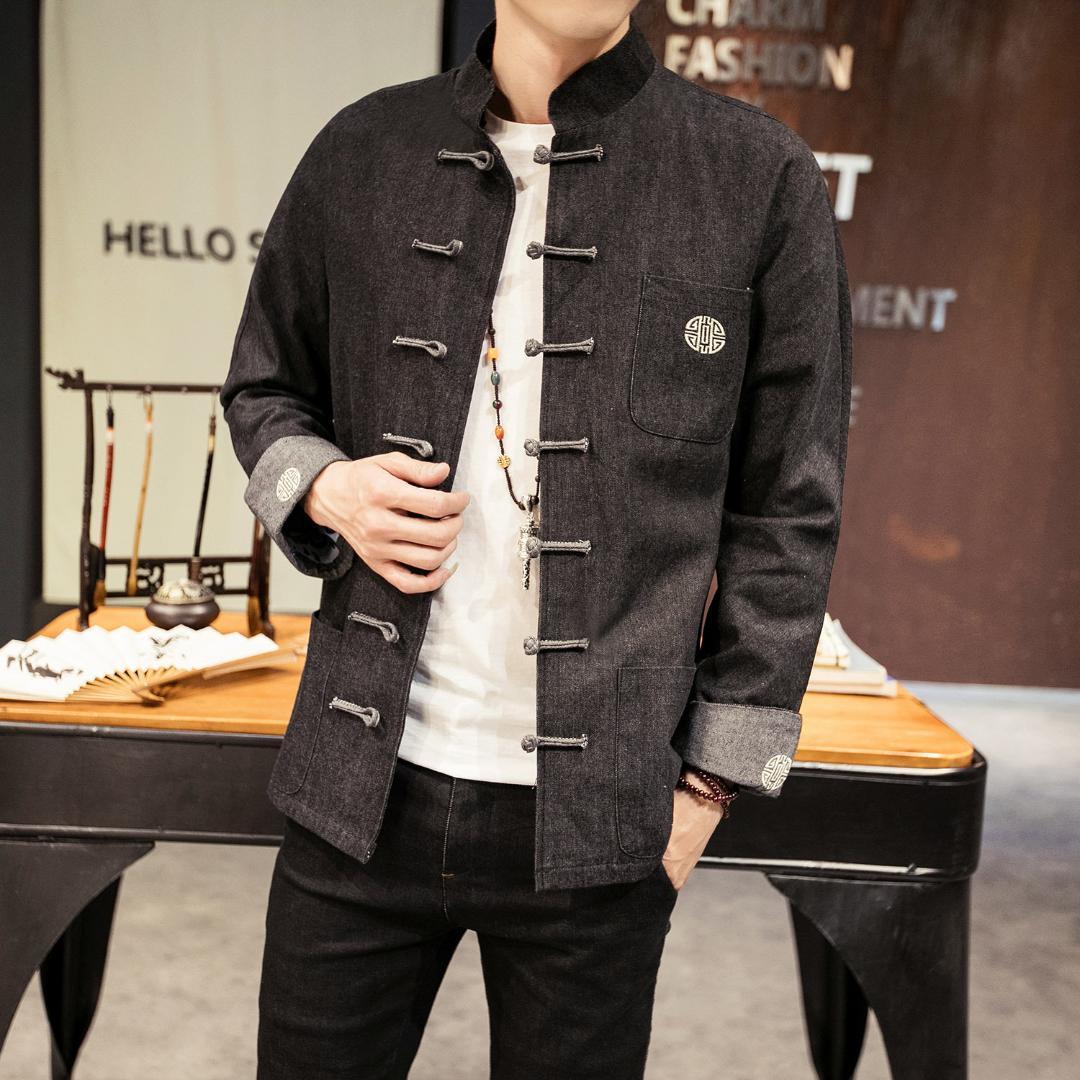 Acquista Abbigliamento Tradizionale Cinese Tang Abbigliamento Kung Fu  Giacca Maschile Uomo Cheongsam Oriental Wear Vintage Uomo Denim Jacket Top  A  73.61 ... 7dbd2f36806